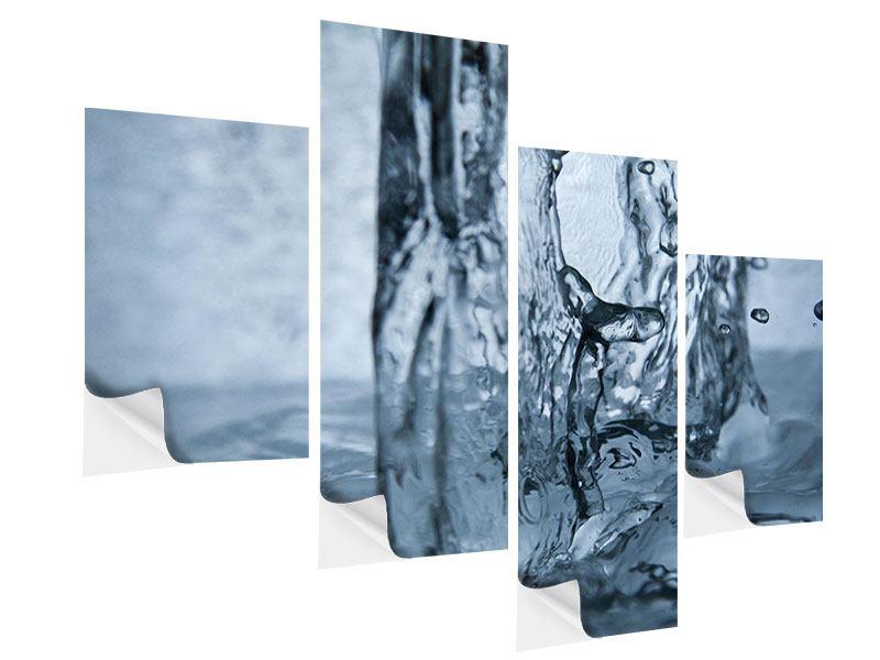 Klebeposter 4-teilig modern Wasserdynamik
