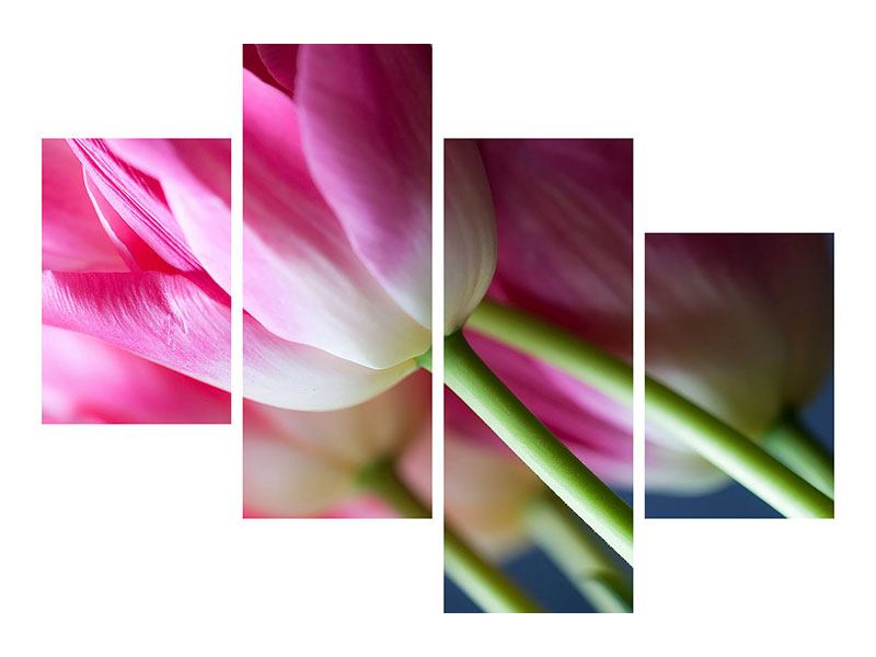 Klebeposter 4-teilig modern Makro Tulpen