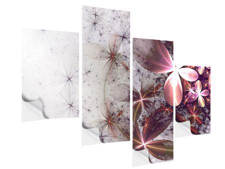 Klebeposter 4-teilig modern Abstrakte Blumen