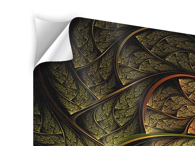 Klebeposter 4-teilig modern Abstraktes Blumenmuster