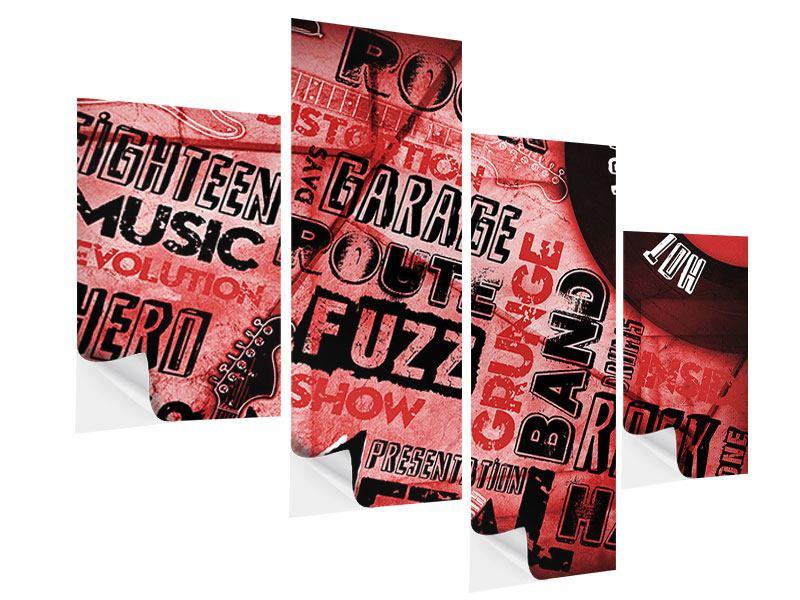 Klebeposter 4-teilig modern Writings Music Grunge