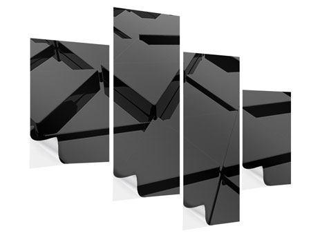 Klebeposter 4-teilig modern 3D-Dreiecksflächen