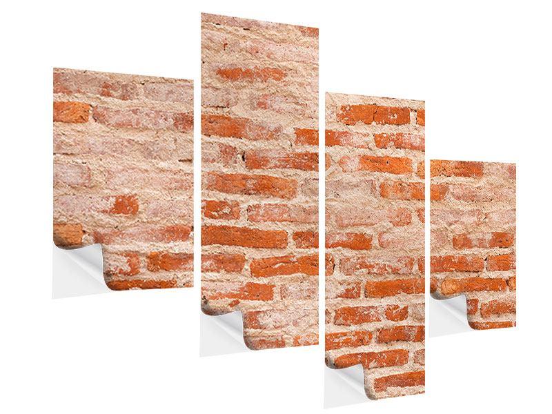 Klebeposter 4-teilig modern Mauerwerk