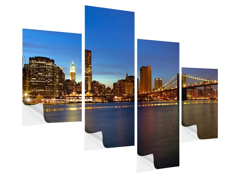 Klebeposter 4-teilig modern Skyline Manhattan im Lichtermeer