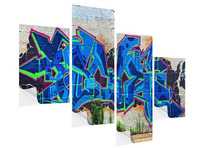 Klebeposter 4-teilig modern Graffiti NYC