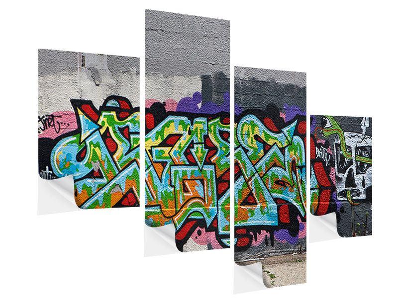 Klebeposter 4-teilig modern Graffiti in New York