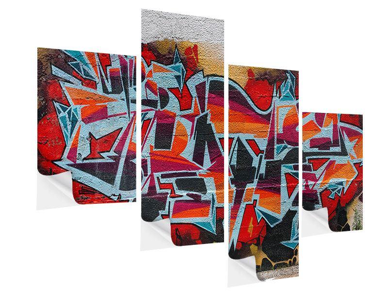 Klebeposter 4-teilig modern New York Graffiti