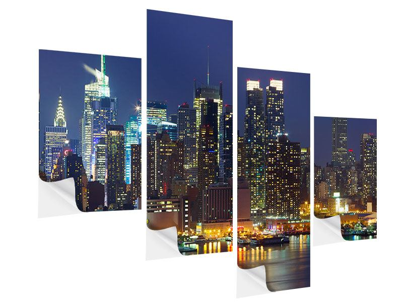 Klebeposter 4-teilig modern Skyline New York Midtown bei Nacht