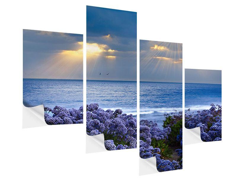 Klebeposter 4-teilig modern Der Lavendel und das Meer