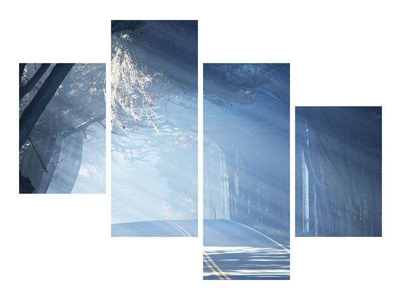 Klebeposter 4-teilig modern Lichtdurchflutete Baumallee