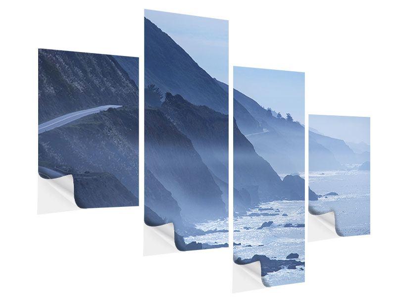 Klebeposter 4-teilig modern Bewegung im Wasser