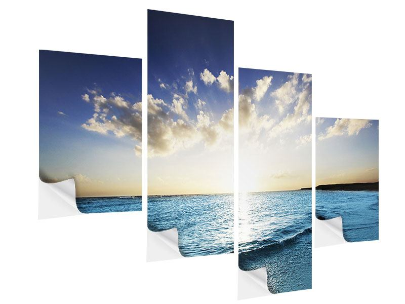 Klebeposter 4-teilig modern Das Meer im Sonnenaufgang