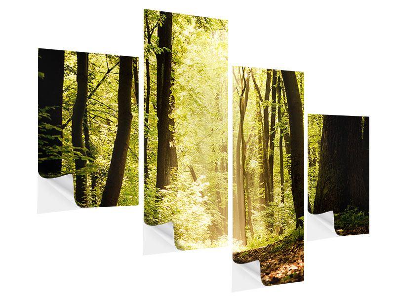 Klebeposter 4-teilig modern Sonnenaufgang im Wald