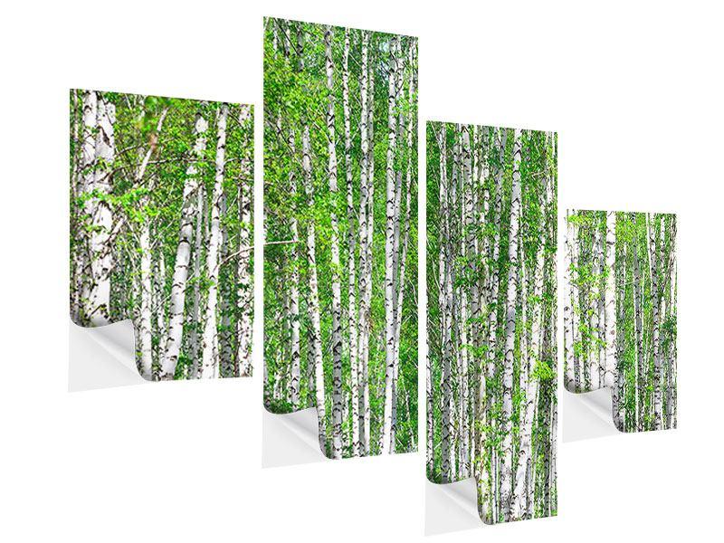 Klebeposter 4-teilig modern Der Birkenwald