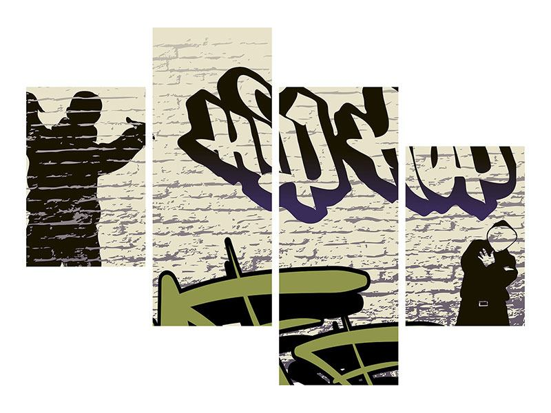 Klebeposter 4-teilig modern Graffiti Hip Hop