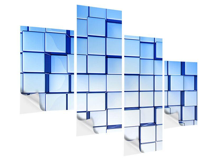 Klebeposter 4-teilig modern 3D-Symetrie