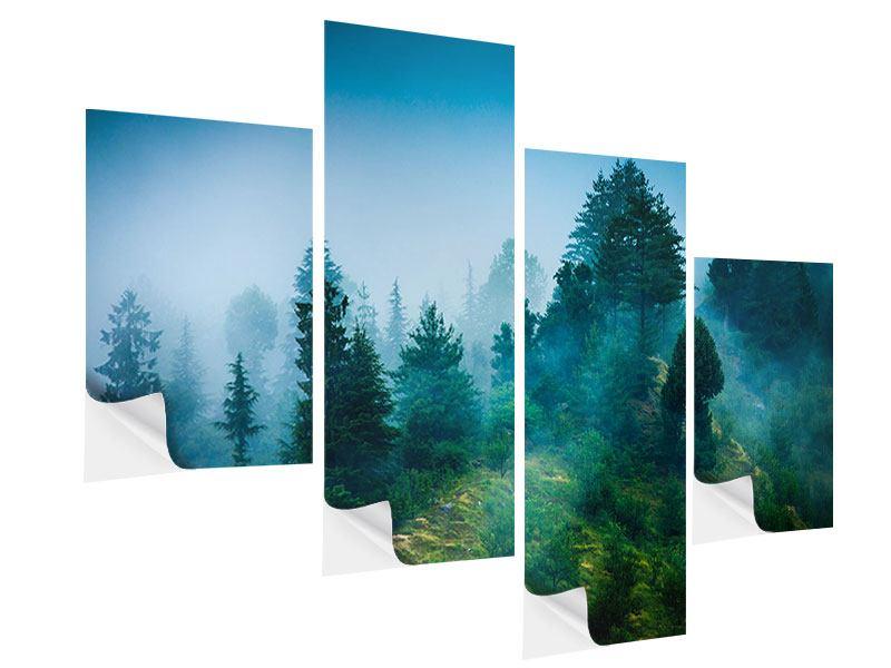 Klebeposter 4-teilig modern Geheimnisvoller Wald
