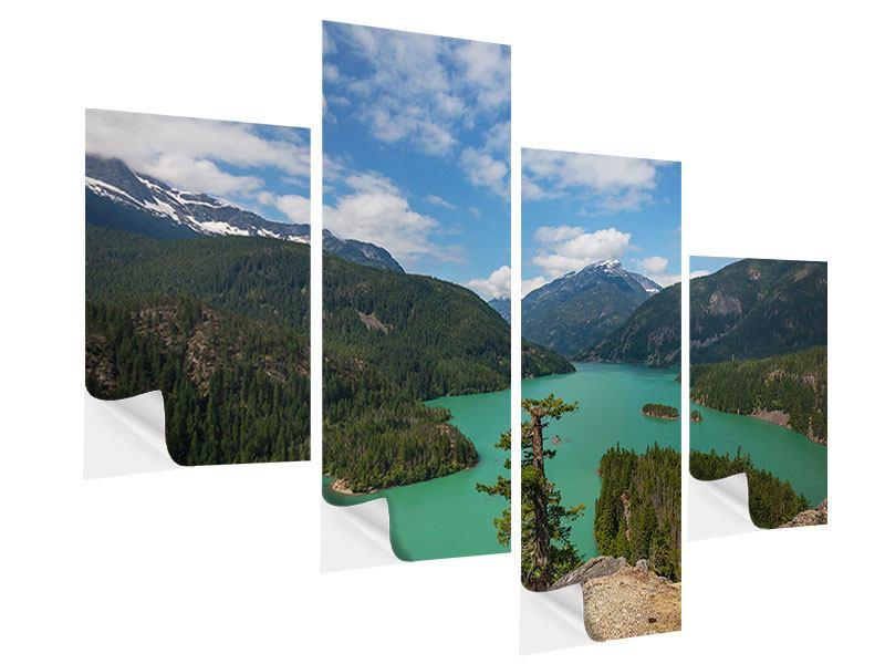 Klebeposter 4-teilig modern Diablo Bergsee