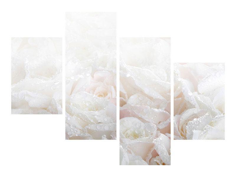 Klebeposter 4-teilig modern Weisse Rosen im Morgentau