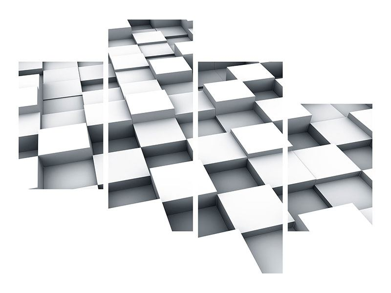 Klebeposter 4-teilig modern 3D-Kubus