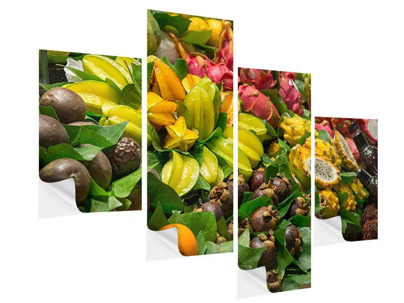 Klebeposter 4-teilig modern Früchte
