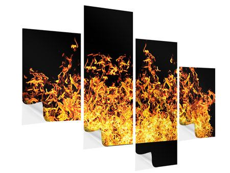 Klebeposter 4-teilig modern Moderne Feuerwand