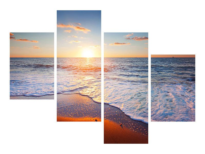 Klebeposter 4-teilig modern Sonnenuntergang am Horizont
