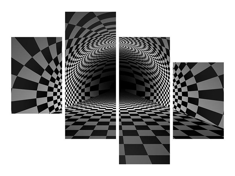 Klebeposter 4-teilig modern Abstraktes Schachbrett