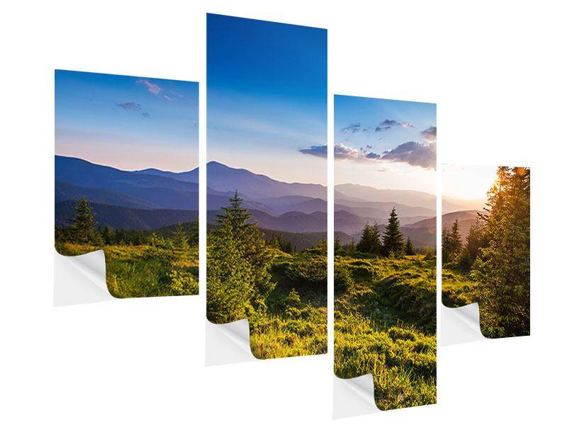 Klebeposter 4-teilig modern Friedliche Landschaft