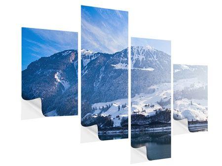 Klebeposter 4-teilig modern Winterwunderland