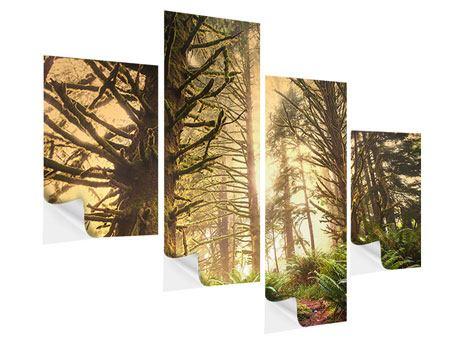 Klebeposter 4-teilig modern Sonnenuntergang im Dschungel
