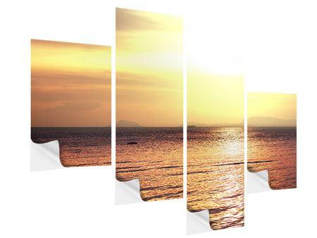 Klebeposter 4-teilig modern Sonnenuntergang an der See