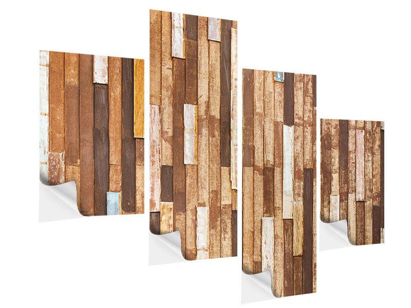 Klebeposter 4-teilig modern Designholz