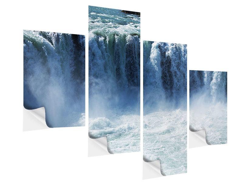 Klebeposter 4-teilig modern Mächtiger Wasserfall