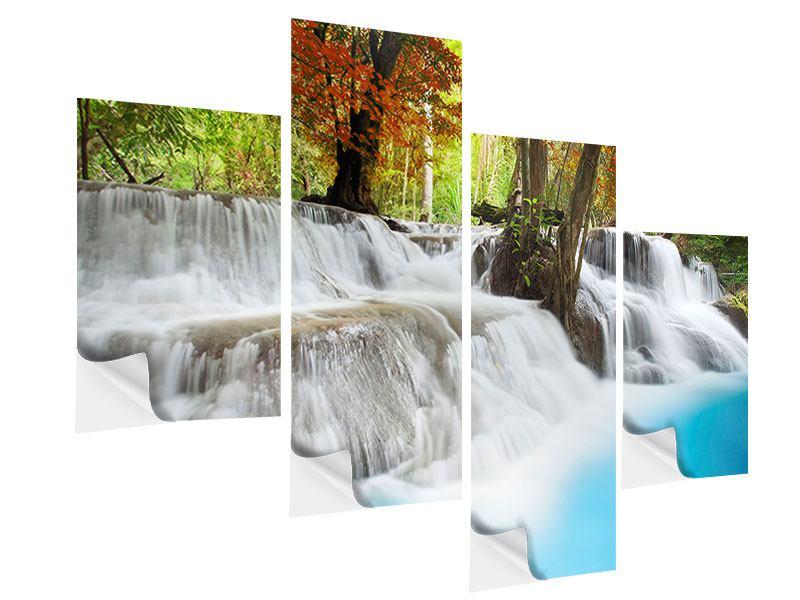 Klebeposter 4-teilig modern Erawan Wasserfall