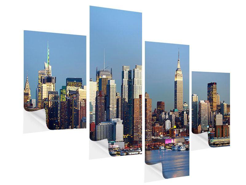 Klebeposter 4-teilig modern Skyline Midtown Manhattan