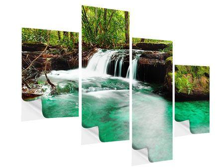 Klebeposter 4-teilig modern Der Fluss am Wasserfall