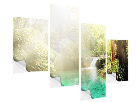 Klebeposter 4-teilig modern Die grüne Lagune