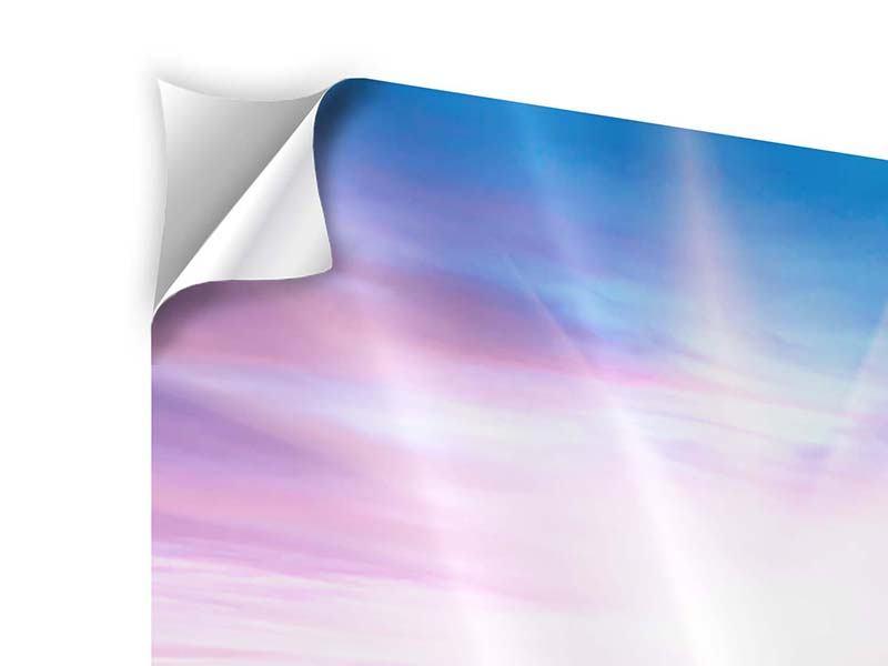 Klebeposter 4-teilig modern Eine Sommerlandschaft bei Sonnenaufgang