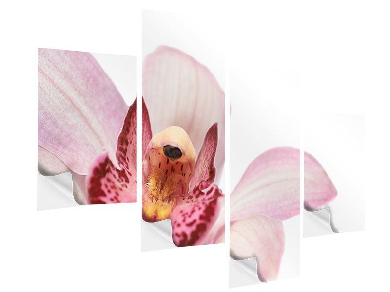 Klebeposter 4-teilig modern Orchideenblüte XXL