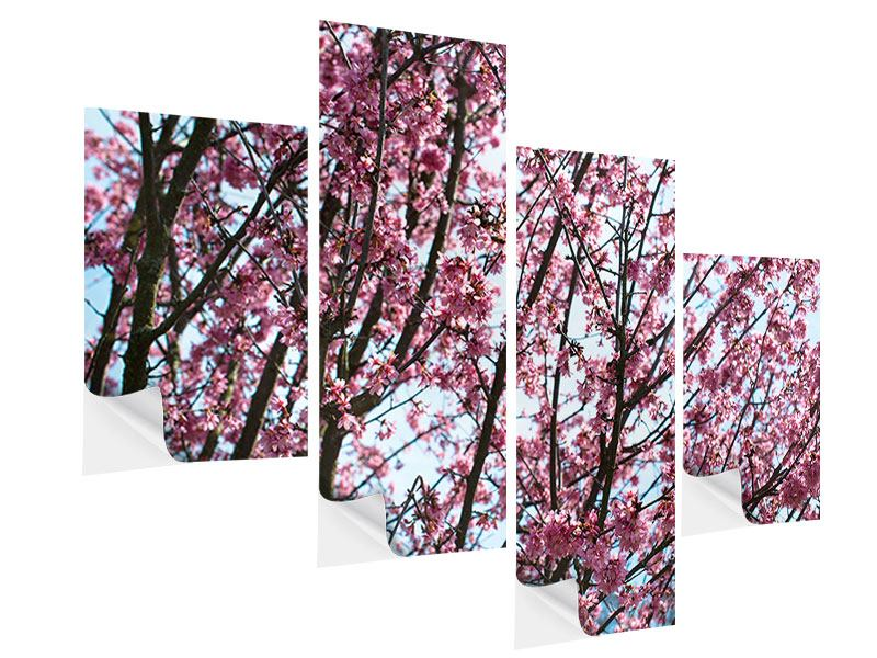 Klebeposter 4-teilig modern Japanische Blütenkirsche