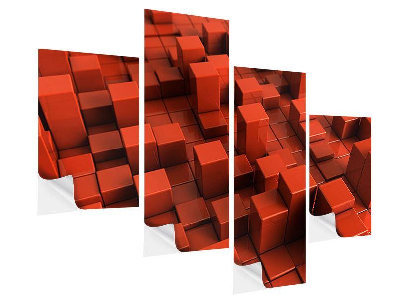 Klebeposter 4-teilig modern 3D-Rechtkant
