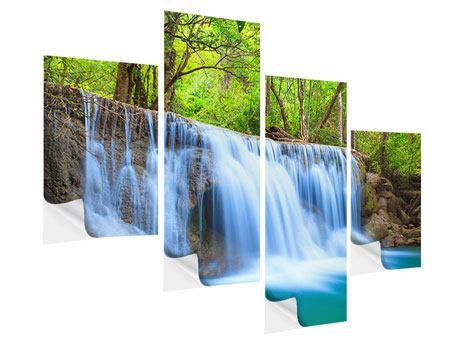 Klebeposter 4-teilig modern Wasserfall Si Nakharin