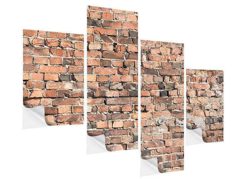 Klebeposter 4-teilig modern Alte Backsteinmauer