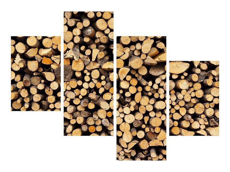Klebeposter 4-teilig modern Brennholz