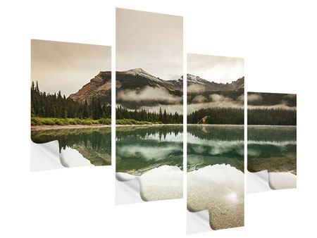 Klebeposter 4-teilig modern Spiegelung im Glacier Nationalpark