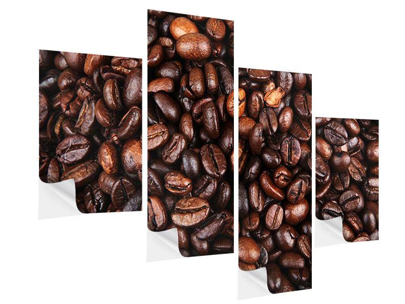 Klebeposter 4-teilig modern Kaffeebohnen in XXL