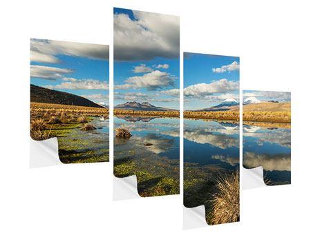 Klebeposter 4-teilig modern Wasserspiegelung am See