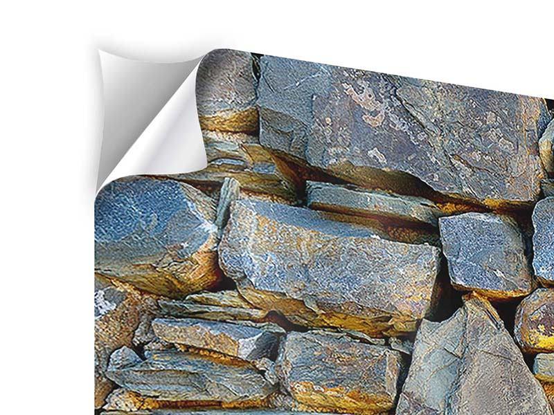 Klebeposter 4-teilig modern Natürliche Steinmauer