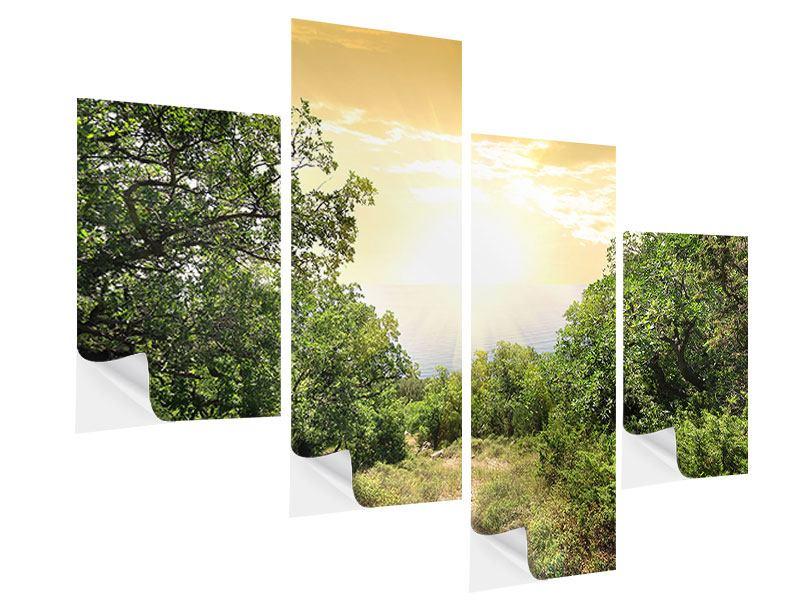 Klebeposter 4-teilig modern Am Ende des Waldes